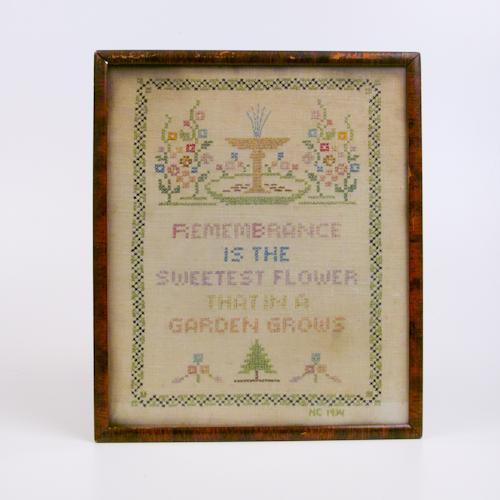 garden embroidered sampler