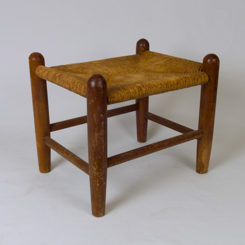Woven Rush Seat Stool with Wood