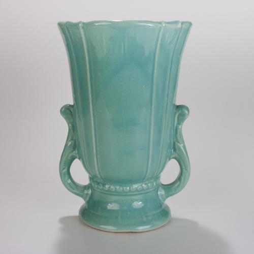 Aqua Blue Pottery Ceramic Flower Vase