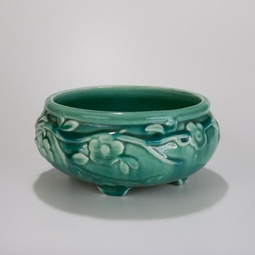 Vining Floral Motif Pottery Footed Ceramic Flower Planter