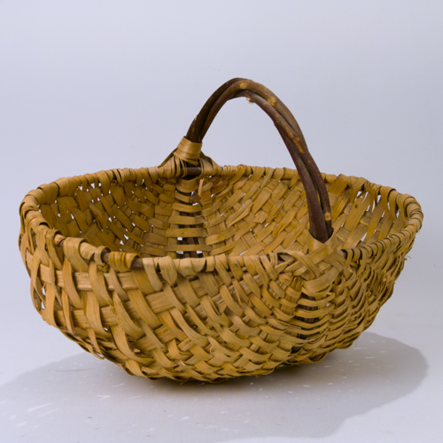 Old Handmade Baskets : Vintage large handmade split willow triple handle woven
